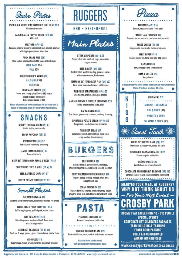 Ruggers Restaurant Menu Feb 2017